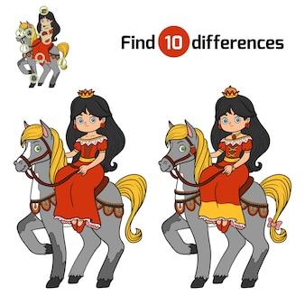 Trouvez les différences, jeu éducatif pour les enfants, princesse à cheval