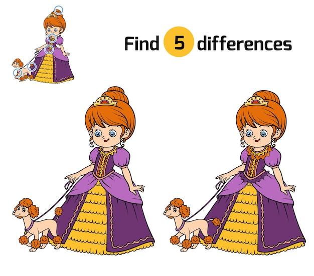 Trouvez les différences, jeu éducatif pour les enfants, princesse avec chien
