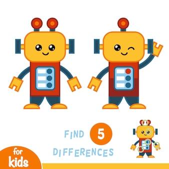 Trouvez les différences, jeu éducatif pour les enfants, robot