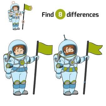 Trouvez des différences, jeu d'éducation pour des enfants, astronaute