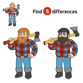 Trouvez des différences, jeu d'éducation pour des enfants, bûcheron