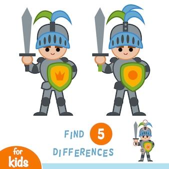 Trouvez les différences, jeu d'éducation pour les enfants, chevalier