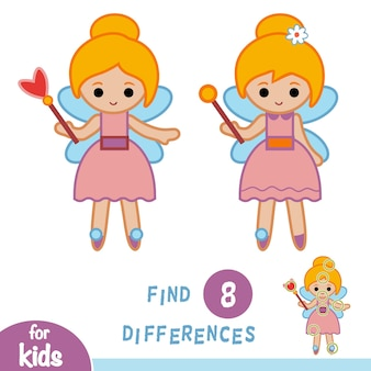 Trouvez des différences, jeu d'éducation pour des enfants, fille de fée
