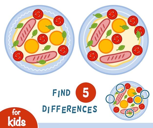 Trouvez des différences, jeu d'éducation pour des enfants, oeuf au plat
