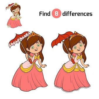 Trouvez les différences, jeu d'éducation pour les enfants, princesse avec parapluie