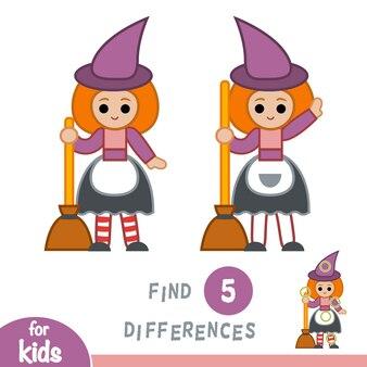 Trouvez les différences, jeu d'éducation pour les enfants, sorcière
