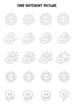 Trouvez différentes images météo en noir et blanc dans chaque rangée. jeu de logique pour les enfants d'âge préscolaire.