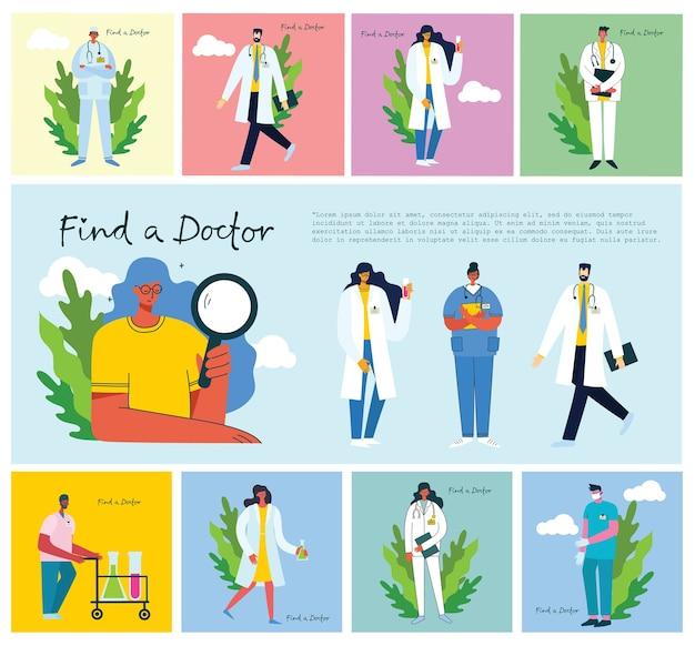 Trouvez un docteur. expérience des médecins d'équipe. dans un style plat moderne