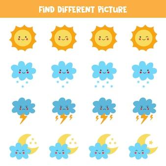Trouvez un élément météo différent dans chaque rangée. jeu de logique pour les enfants d'âge préscolaire.