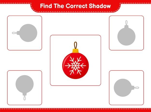 Trouvez et faites correspondre l'ombre correcte des boules de noël