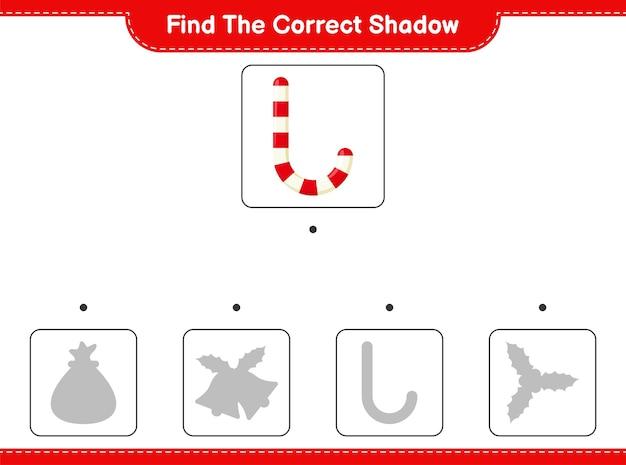 Trouvez et faites correspondre l'ombre correcte de candy canes