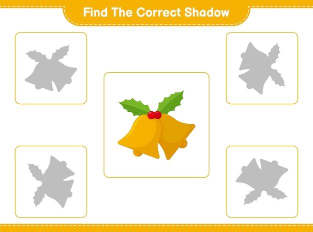 Trouvez et faites correspondre l'ombre correcte de la cloche de noël