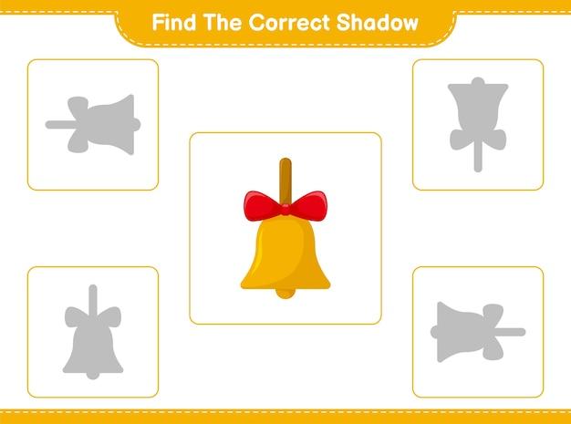 Trouvez et faites correspondre l'ombre correcte des cloches de noël dorées