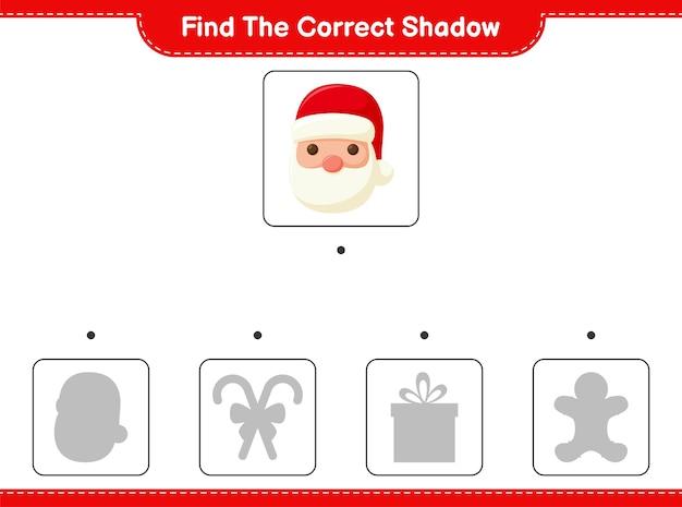 Trouvez et faites correspondre l'ombre correcte du père noël