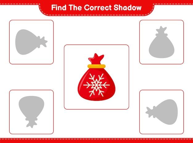 Trouvez et faites correspondre l'ombre correcte du sac du père noël