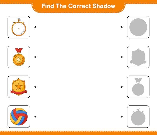 Trouvez et faites correspondre l'ombre correcte du trophée chronomètre et du volleyball