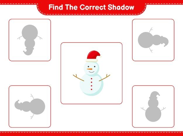 Trouvez et faites correspondre l'ombre correcte de snowman