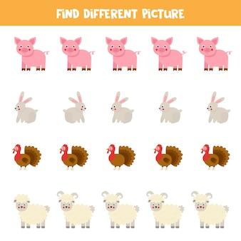 Trouvez une image différente des animaux de la ferme. jeu de logique éducatif pour les enfants.
