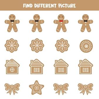 Trouvez une image différente de biscuits en pain d'épice. jeu de logique pour les enfants.