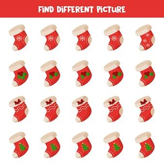 Trouvez une image différente de la chaussette de noël. feuille de calcul logique éducative pour les enfants.