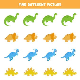 Trouvez une image différente de dinosaure dans chaque rangée. jeu de logique éducatif pour les enfants.