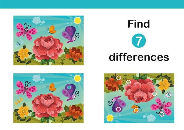 Trouvez un jeu éducatif sur les 7 différences pour les enfants papillons heureux survolant les fleurs au printemps