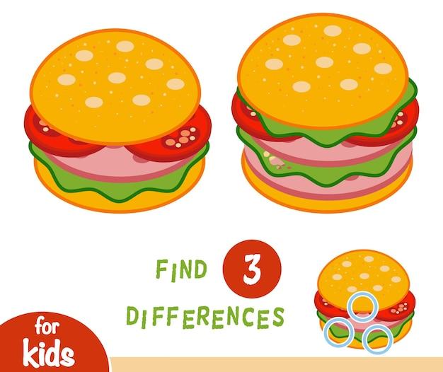 Trouvez le jeu d'éducation des différences pour les enfants, burger