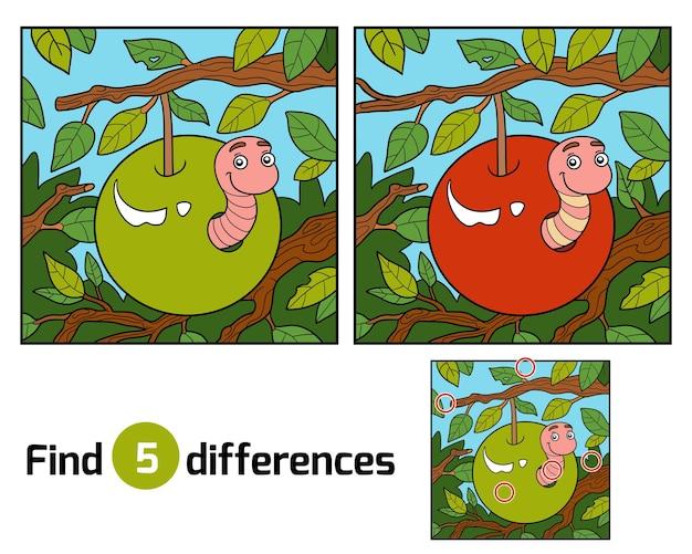 Trouvez le jeu d'éducation de différences pour des enfants, ver dans la pomme