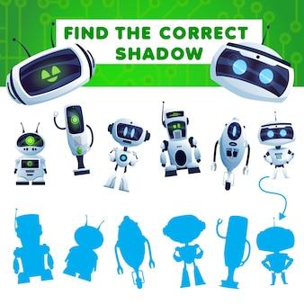 Trouvez un jeu d'enfants d'ombre avec une tâche de robots de dessin animé