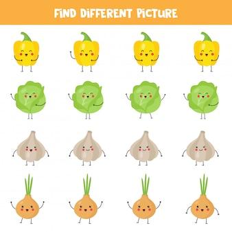 Trouvez un légume kawaii différent des autres dans la rangée.