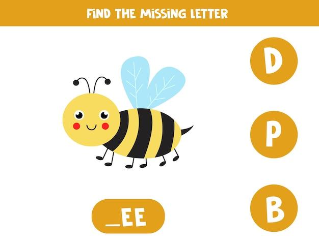 Trouvez la lettre manquante. abeille mignonne. jeu d'orthographe éducatif pour les enfants.