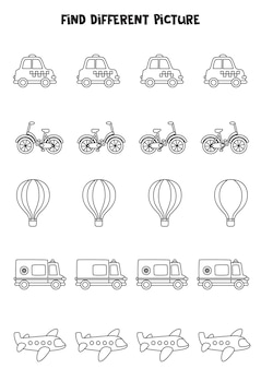 Trouvez un moyen de transport différent des autres. feuille de travail en noir et blanc pour les enfants.