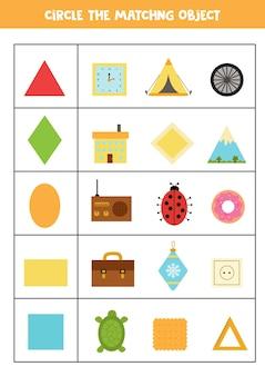 Trouvez l'objet qui correspond à la forme. apprentissage des formes géométriques.