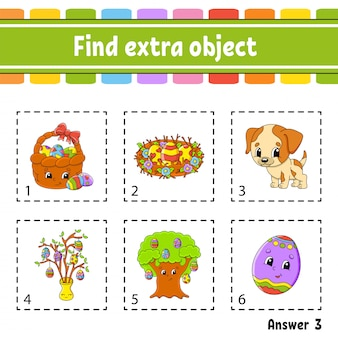 Trouvez un objet supplémentaire. feuille d'activités éducatives pour les enfants et les tout-petits. jeu pour les enfants.