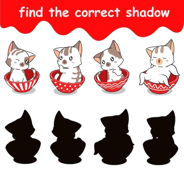 Trouvez l'ombre correcte de l'adorable chat à l'intérieur du bol