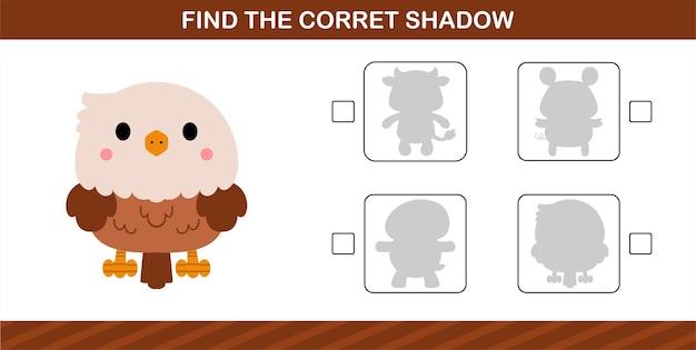 Trouvez l'ombre correcte de l'aigle mignon, jeu éducatif pour les enfants de 5 et 10 ans