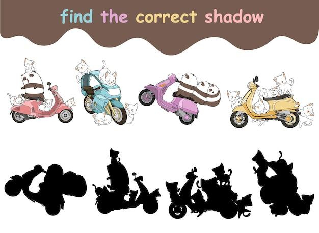 Trouvez l'ombre correcte des chats et des pandas avec un dessin animé de moto