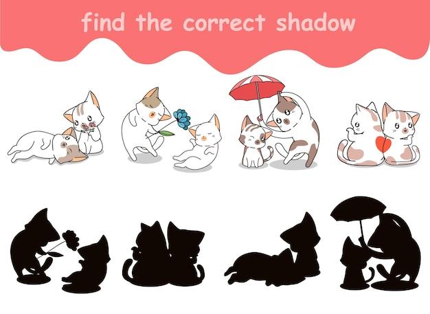 Trouvez l'ombre correcte du chat en couple qui aime