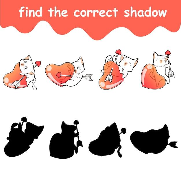Trouvez l'ombre correcte du chat et de la flèche avec le coeur
