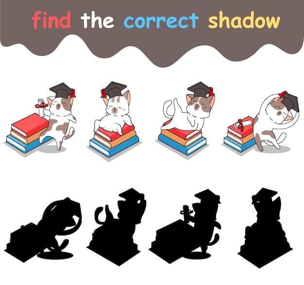 Trouvez l'ombre correcte du personnage de chat érudit