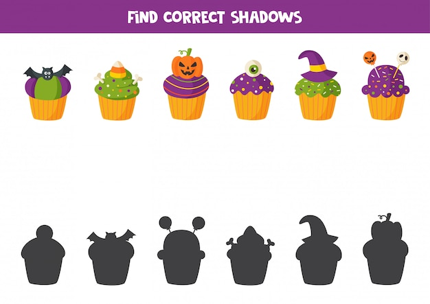 Trouvez l'ombre correcte de tous les muffins d'halloween.