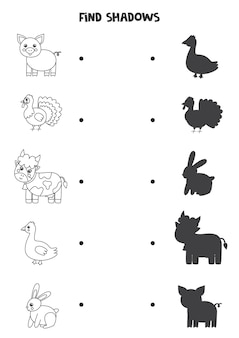 Trouvez les ombres des animaux de la ferme. feuille de travail en noir et blanc. jeu de logique éducatif pour les enfants.