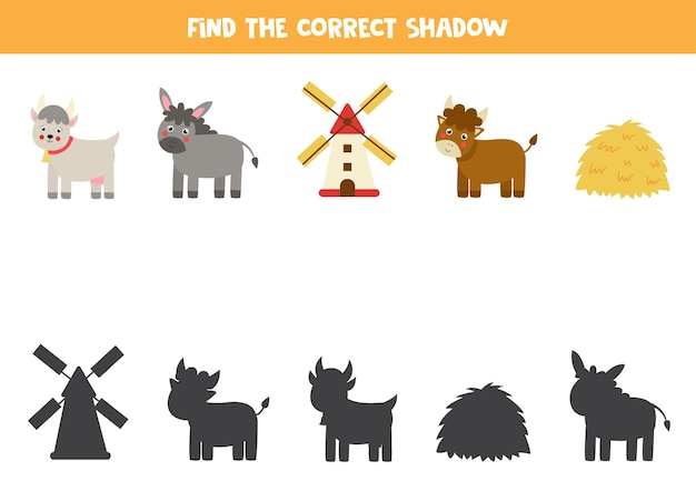 Trouvez des ombres d'animaux de la ferme, une pile de foin et un moulin. jeu de logique éducatif pour les enfants.
