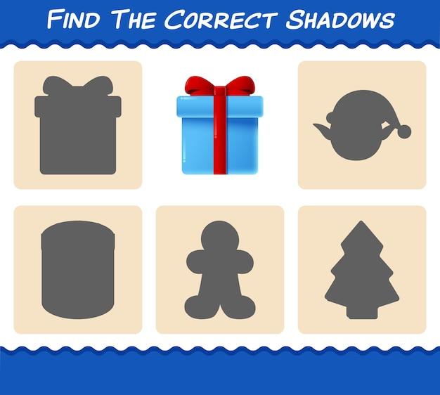 Trouvez les ombres correctes de la boîte-cadeau. jeu de recherche et d'association. jeu éducatif pour les enfants et les tout-petits de la maternelle