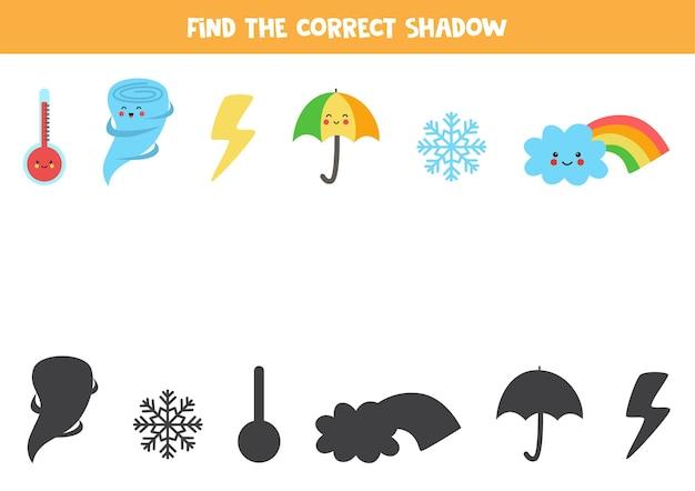 Trouvez les ombres correctes des éléments météorologiques. jeu de logique pour les enfants d'âge préscolaire.