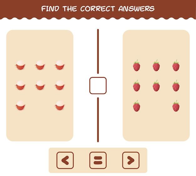 Trouvez les ombres correctes des fruits de dessins animés. jeu de recherche et d'association. jeu éducatif pour les enfants et les tout-petits