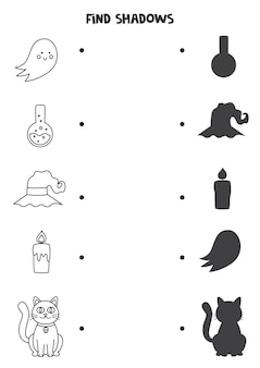 Trouvez les ombres correctes des images d'halloween en noir et blanc. puzzle logique pour les enfants.