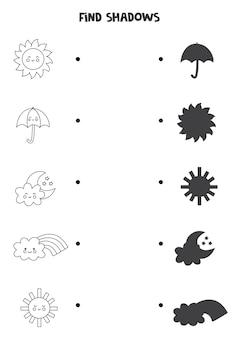 Trouvez des ombres d'événements météorologiques mignons. feuille de travail en noir et blanc. jeu de logique éducatif pour les enfants.