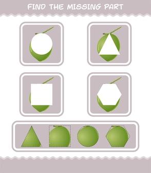 Trouvez les parties manquantes de la noix de coco de dessin animé. jeu de recherche. jeu éducatif pour les enfants et les tout-petits de la maternelle