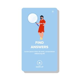 Trouvez des réponses et des solutions vecteur de femme d'affaires. jeune femme tenant un accessoire de loupe pour trouver des réponses et résoudre un problème. personnage dame tenir lentille web illustration de dessin animé plat